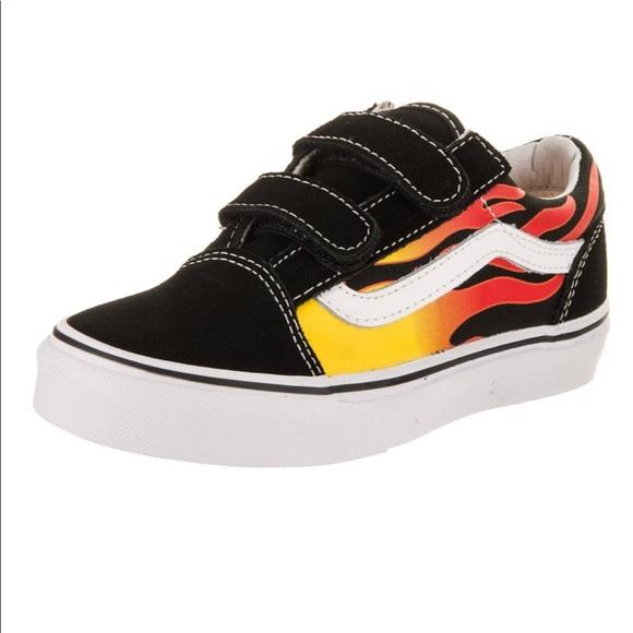 Vans Shoes   Velcro Flame Vans   Poshmark